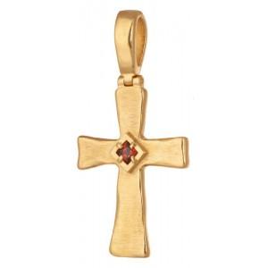 Крест с квадратным камнем 771 (гранат)