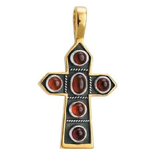 Крест нательный «Пасхальный» 584 (вставка гранат)