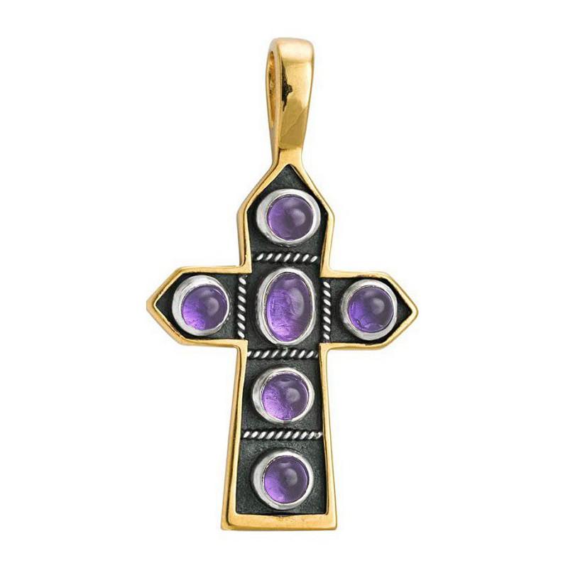 Нательный «Пасхальный» крест с аметистами (женский)