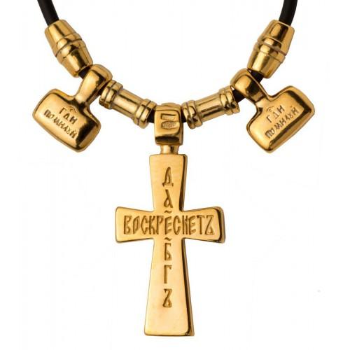 Нательный крест с подвесками на шнуре гайтане (Кс.725)