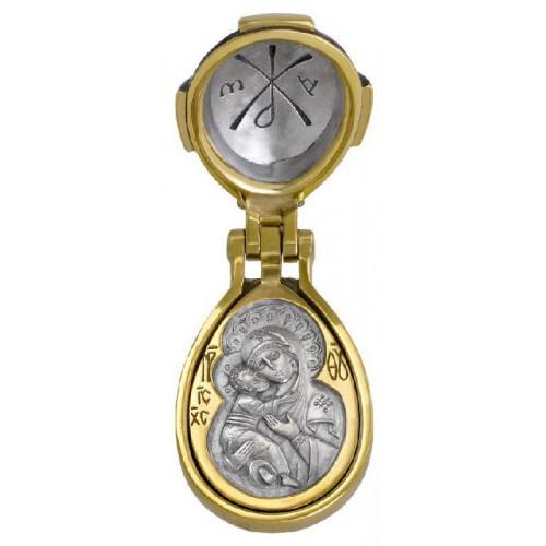 Пасхальный складень с аметистом «Богородица Владимирская,  Ангел Хранитель» 578