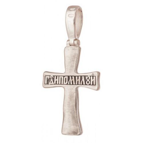 Серебряный крестик с гранатом «Господи Помилуй» (Кс.771.с)
