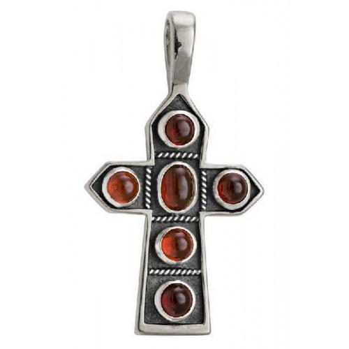 Крест нательный «Пасхальный» 584s (вставка гранат)