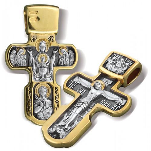 Нательный серебряный крест «Неупиваемая чаша» КР 019