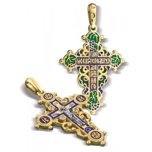 Православный крест с эмалью КЭ 01 (фианит)