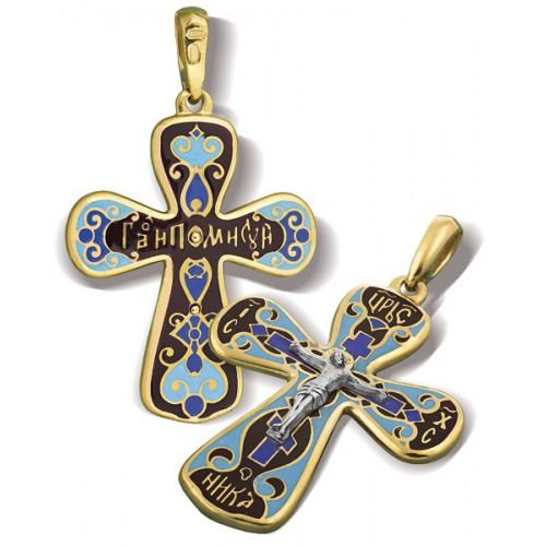 Православный крест с эмалью КЭ 02