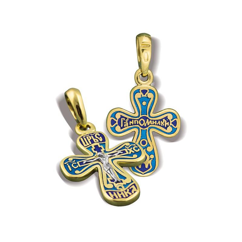 Православный крест с эмалью КЭ 03