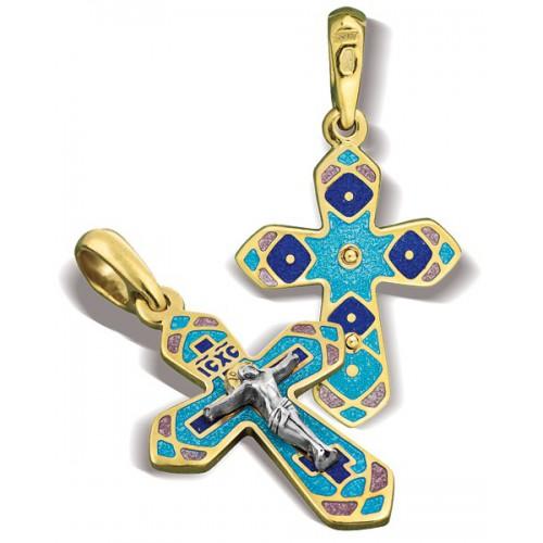 Православный крест с эмалью КЭ 07