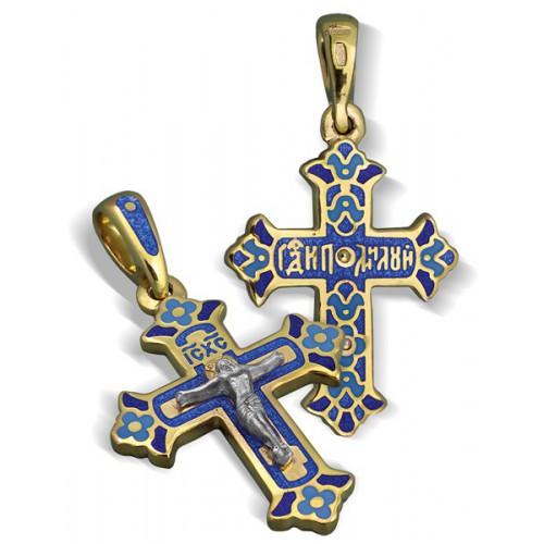 Нательный православный крест с эмалью КЭ 08