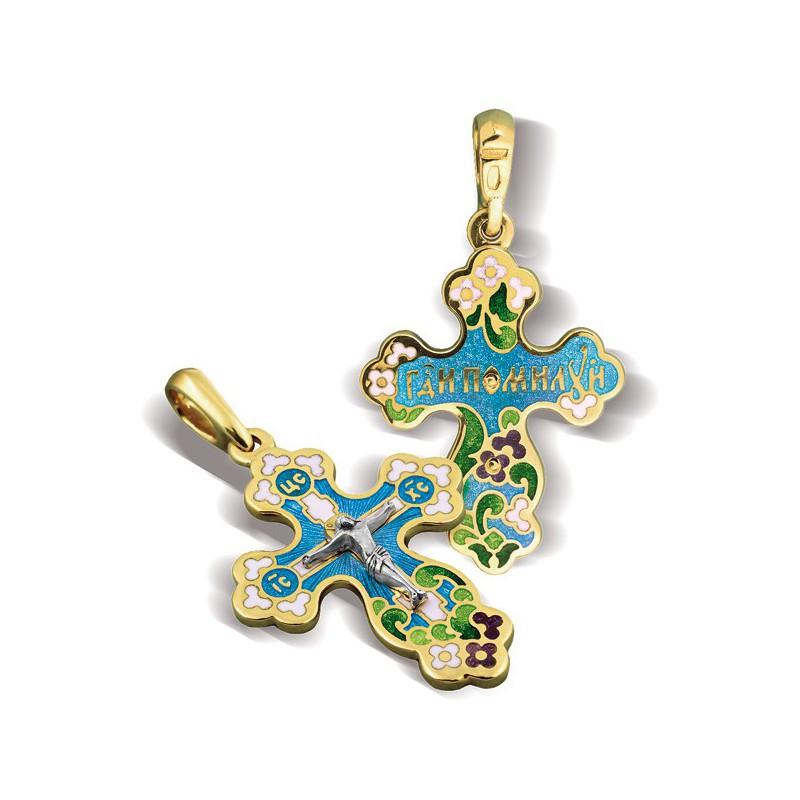 Православный крест с эмалью КЭ 11