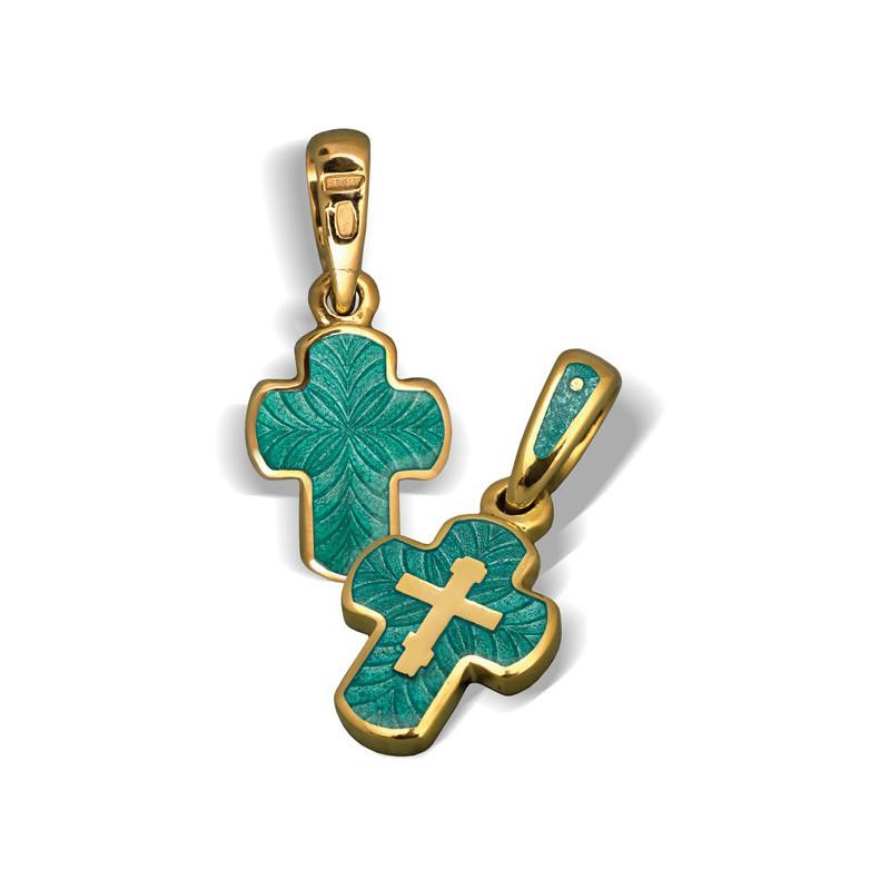 Нательный православный крест с эмалью КЭ.12
