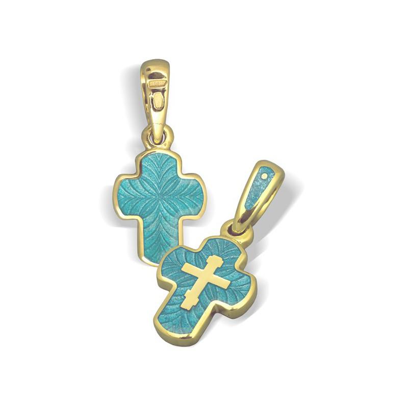 Нательный православный крест. Серебро с эмалью