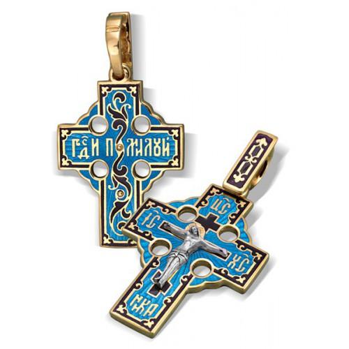 Православный крест с эмалью КЭ.14