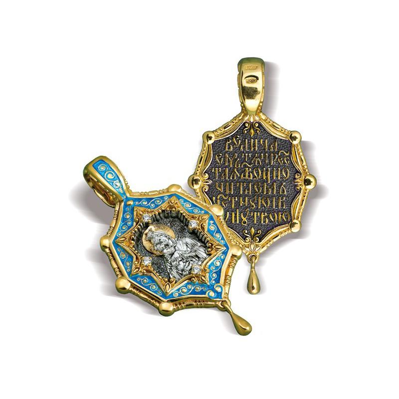 Образ «Почаевская икона Божией Матери» ПДЭ 03 (фианит)