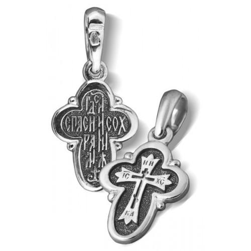 Серебряный нательный крестик «Криновидный»