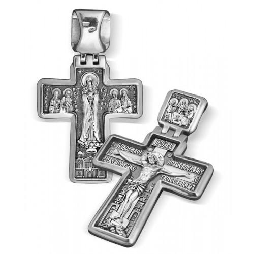 Дивеевский нательный крест. Распятие. Святая Троица. Богородица Умиление