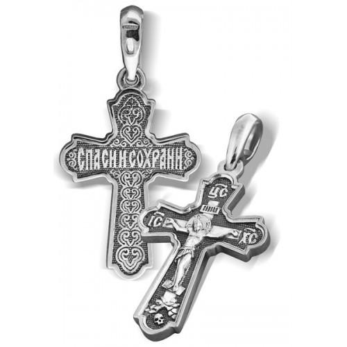 Нагрудный серебряный крестик «Распятие Христово»