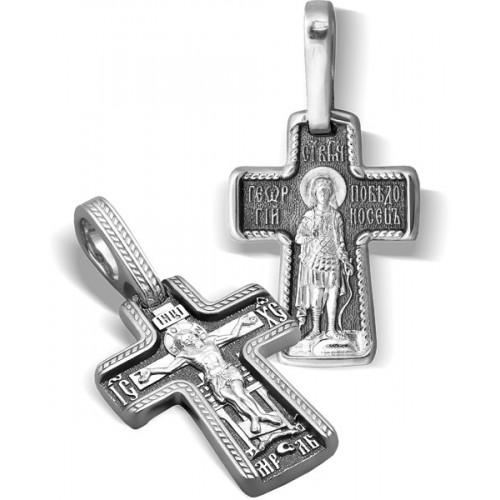 Серебряный нательный крестик «Святой Георгий»