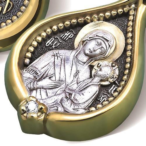 Образ «Тихвинская икона Божией Матери» ПД095 (фианит)