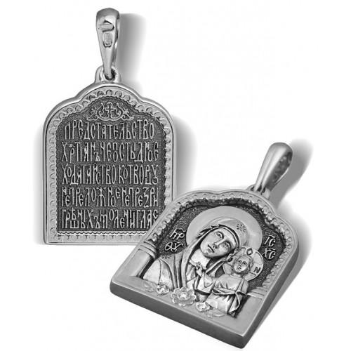 Образ «Казанская икона Божией Матери» ПД017 (фианит)
