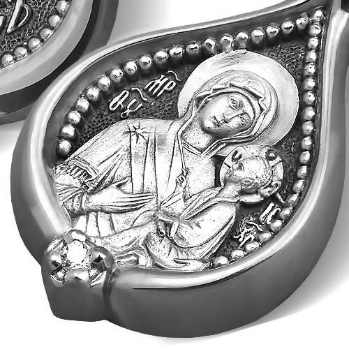 Образ «Тихвинская икона Божией Матери» ПД095s (фианит)