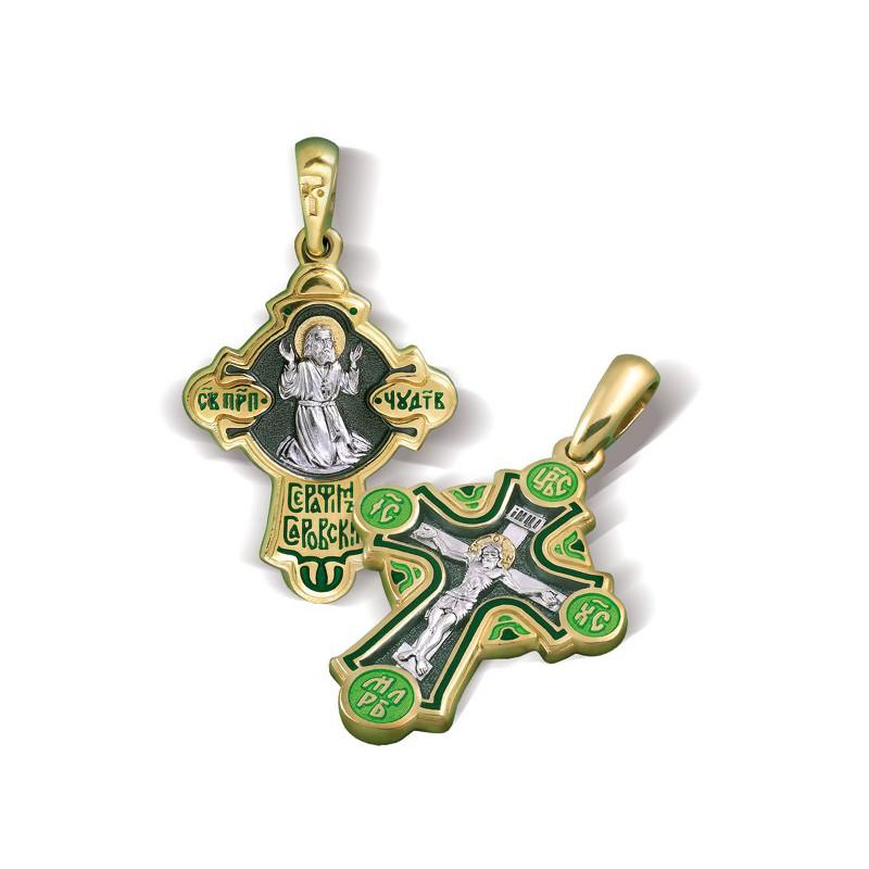 Православный крест. Распятие. Святой Серафим Саровский КЭ22