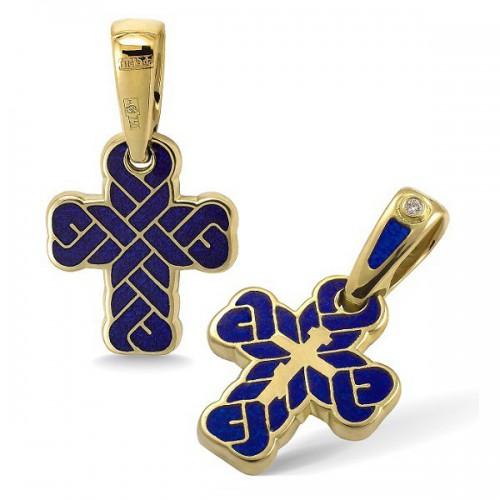 Православный крест с эмалью КЭ 16 (фианит)