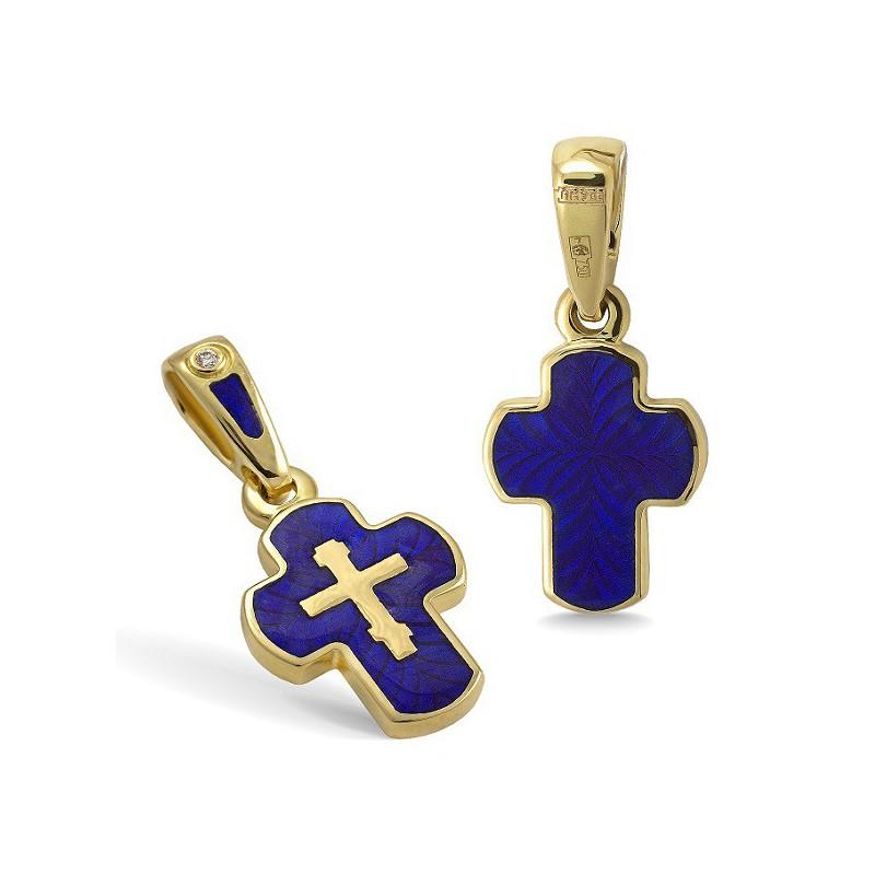Крестик с эмалью КЭ12 (фианит / темно-синий)