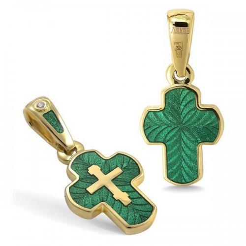 Крестик с эмалью КЭ12 (фианит / зеленый)