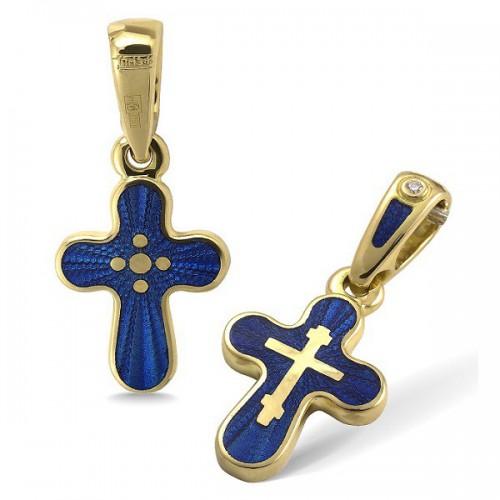 Православный крест с эмалью КЭ13 (фианит)