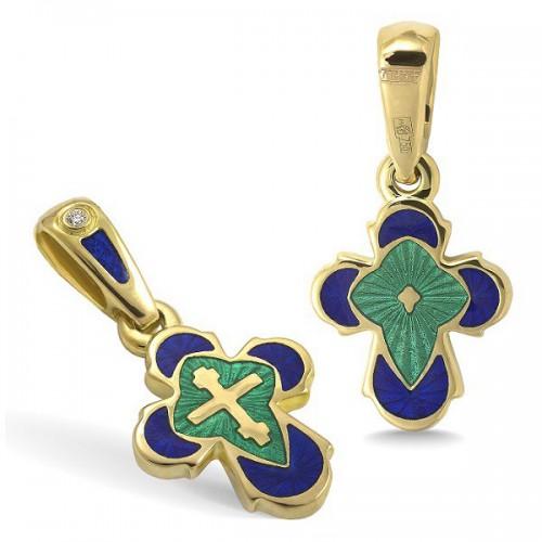 Православный крест с эмалью КЭ 19