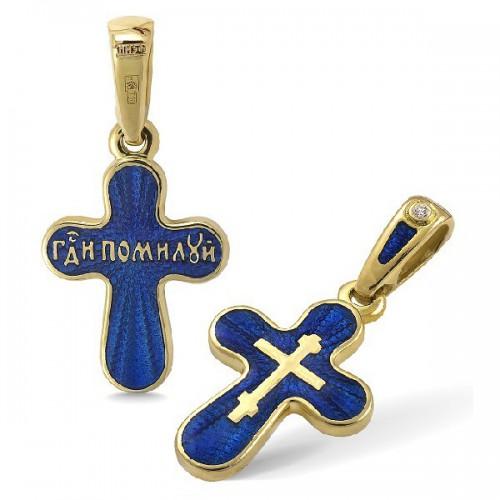 Православный крест с эмалью КЭ21 (фианит)