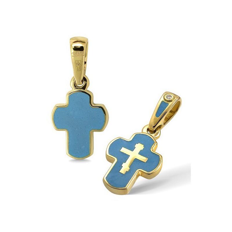 Крестик с эмалью КЭ12 (фианит / голубой-2)